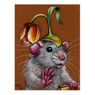 Rat in Silly Tulip Hat Postcard