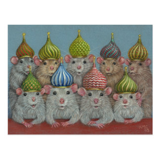 Rat in St Basil's onion dome hats postcard