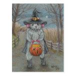 Rat in Witch Costume Halloween postcard
