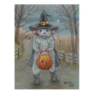 Rat in Witch Costume Halloween postcard