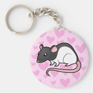 Rat Love Basic Round Button Keychain