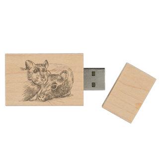rat love Maple wood USB drive Wood USB 2.0 Flash Drive