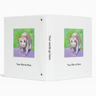 Rat lover art cute white pet rats fun picture 3 ring binders