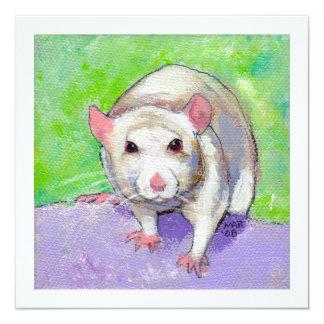 Rat lover art fun colorful pet listenin white rats card