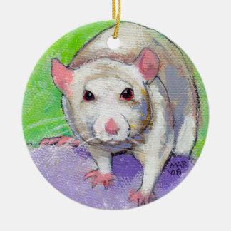 Rat lover decoration cute white pet painting art christmas ornament