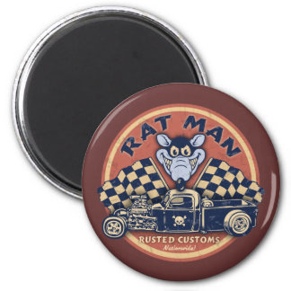 Rat Man Rusted Customs 2 Inch Round Magnet