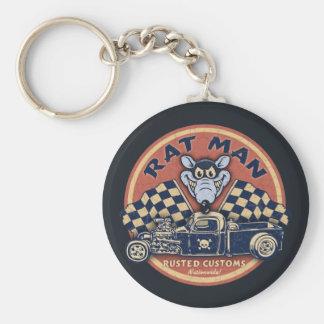 Rat Man Rusted Customs Basic Round Button Keychain