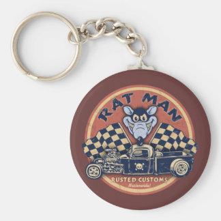 Rat Man Rusted Customs Keychain