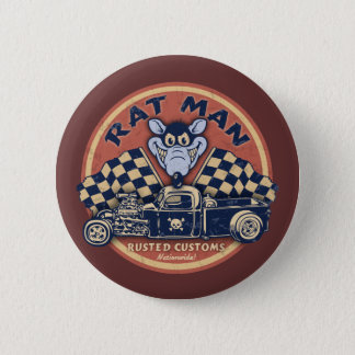 Rat Man Rusted Customs Pinback Button