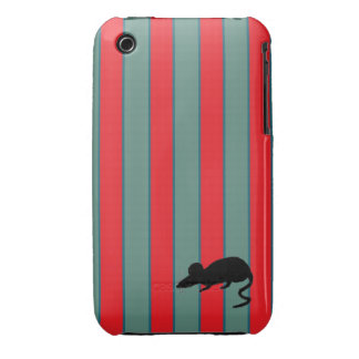Rat Optional Red and Teal Stripes Case-Mate iPhone 3 Cases