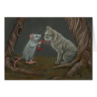 Rat putting bell on cat greeting card