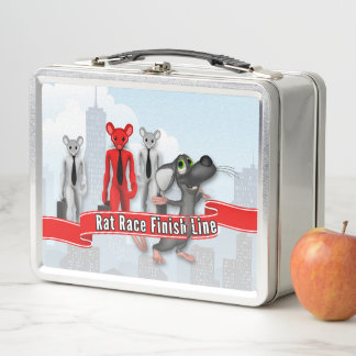 Rat Race Finish Line Funny Idiom Business Metal Lunch Box