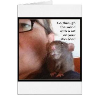 Rat Riding on Shoulder Greeting Card