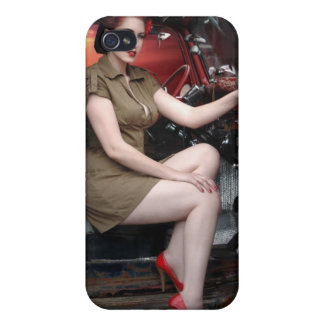 Rat Rod Military Pin Up Girl Hot Rod iPhone 4 Case