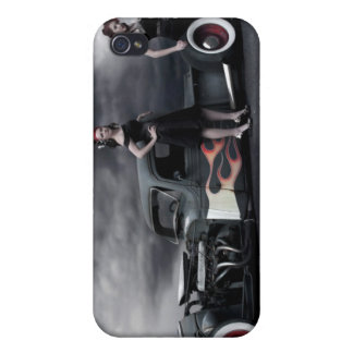 Rat Rod Pick Up and Pin Up Girls iPhone 4 Case