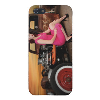 Rat Rod Pick Up Pin Up Girl Sunset iPhone 4 Case