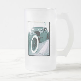 rat rod truck frosted glass beer mug
