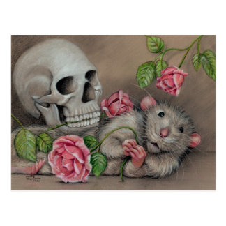 Rat Rose Skull Postcard drawing
