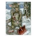 Rat shoveling snow Postcard