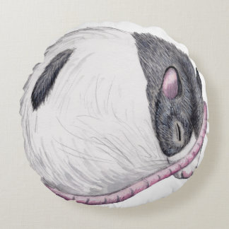 rat sleeping round throw pillow