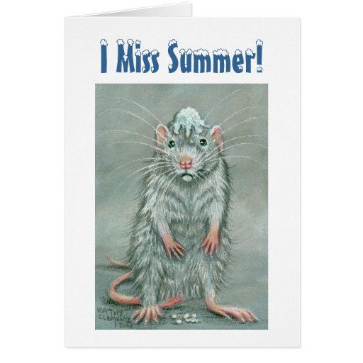 Rat Snowball on Head, I Miss Summer! Note Card