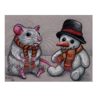 Rat Snowman in scarf Postcard