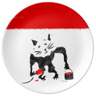 Rat Stencil Street Art Porcelain Plate