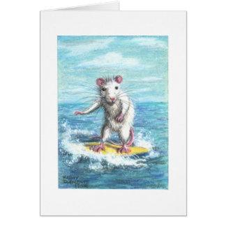 Rat surfer note card