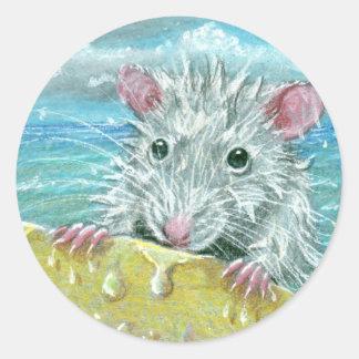 Rat surfing wipeout classic round sticker