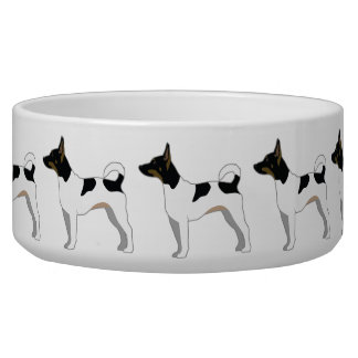 Rat Terrier Basic Breed Silhouette Design Bowl