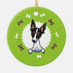 Rat Terrier Bones Christmas Wreath Double-Sided Ceramic Round Christmas Ornament