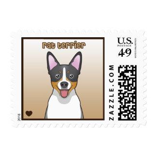 Rat Terrier Cartoon Postage Stamps