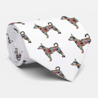 Rat Terrier Colorful Geometric Pattern Silhouette Tie