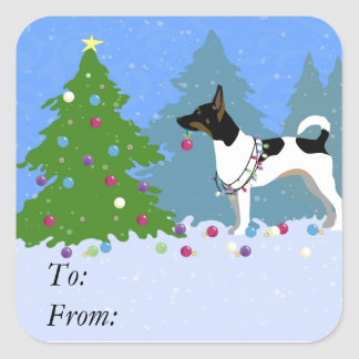 Rat Terrier Decorating a Christmas Tree in Forest Square Sticker