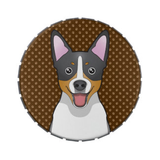 Rat Terrier Dog Cartoon Paws Jelly Belly Candy Tins