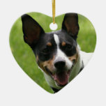 rat terrier Double-Sided heart ceramic christmas ornament