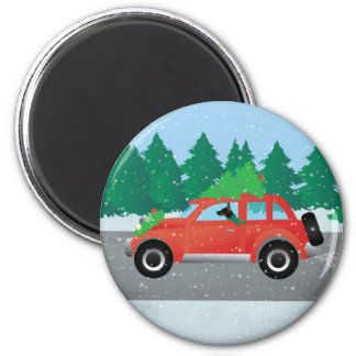 Rat Terrier Driving a Christmas Car with a Tree Magnet