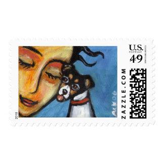 Rat Terrier kiss Stamps