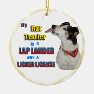 RAT TERRIER LAP LANDER CHRISTMAS ORNAMENT LICKER