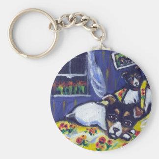 Rat terrier loungers keychain