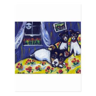 Rat terrier loungers postcard