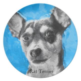 Rat Terrier, Modern Art, Dinner Plate