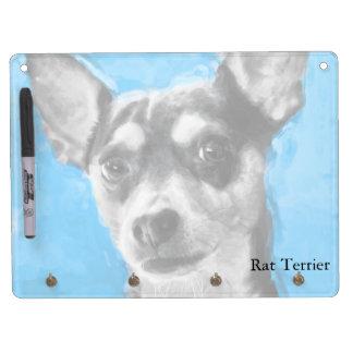 Rat Terrier, Modern Art, Horizontal Dry Erase Board With Keychain Holder