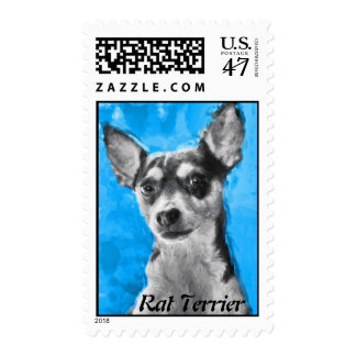 Rat Terrier Modern Dog Art Postage