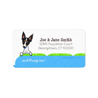 Rat Terrier on Couch Pet Name Personalized Label