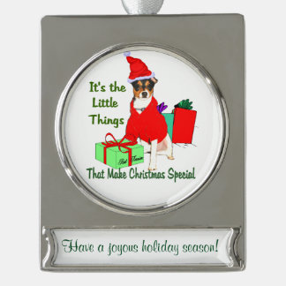 Rat Terrier Personalized Christmas Silver Plated Banner Ornament