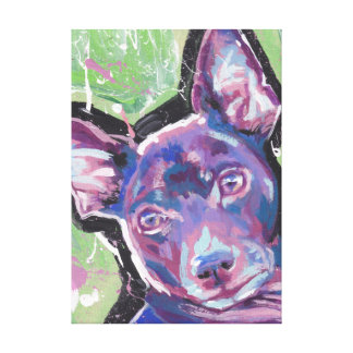 Rat Terrier Pop Art on Stretched Canvas