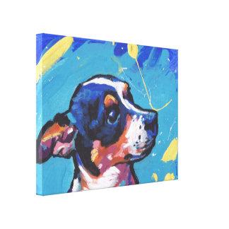 Rat Terrier Pop Art on Stretched Canvas Canvas Print