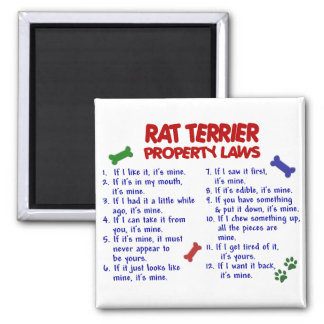 RAT TERRIER Property Laws 2 2 Inch Square Magnet