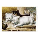 Rat Terrier Puppies - Vintage Fine Art Card